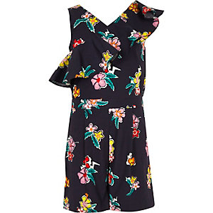 Girls navy floral asymmetric frill playsuit
