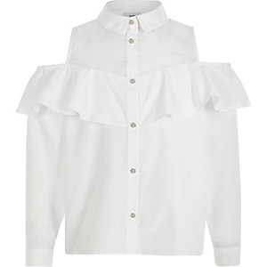 Girls white frill bardot shirt