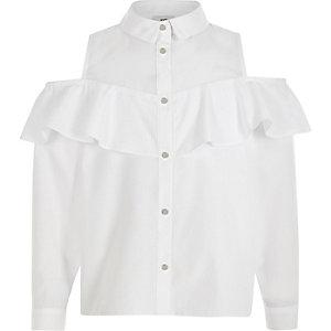 Chemise Bardot blanche à volants pour fille