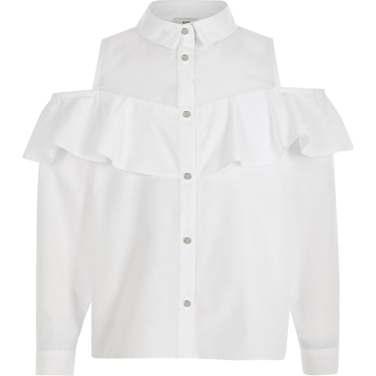 Girls white frill bardot shirt