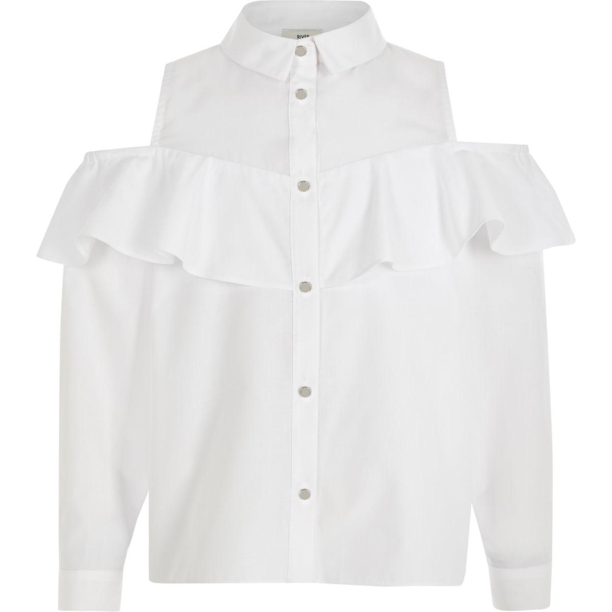 Weißes Bardot-Hemd mit Rüschen