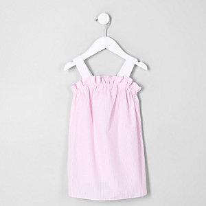 Robe trapèze rayée rose mini fille