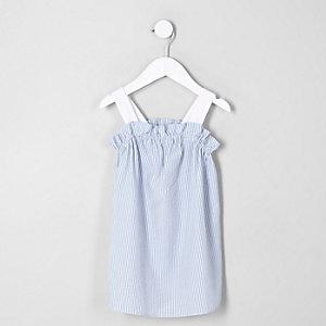 Mini girls blue stripe trapeze dress