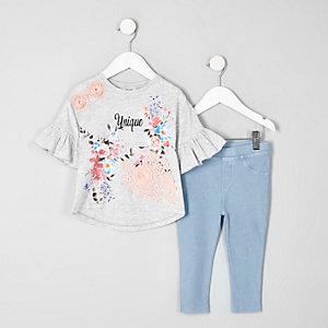 Mini - Outfit met grijs T-shirt met unique- en bloemenprint
