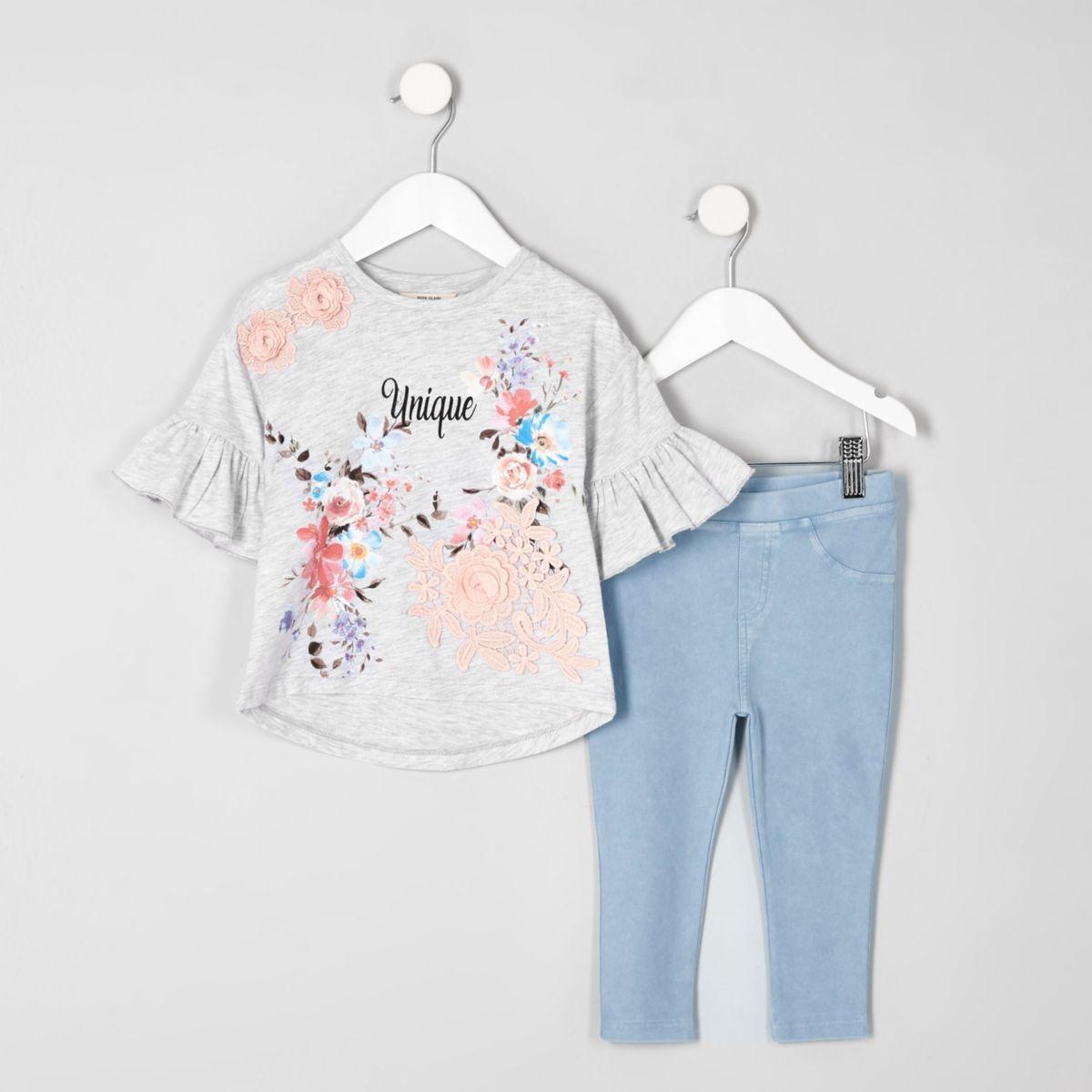 Mini grey 'unique' floral T-shirt outfit