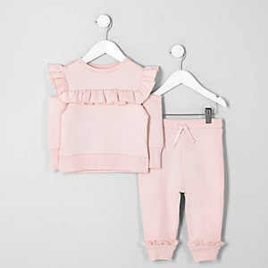 Ensemble sweat rose à volant mini fille