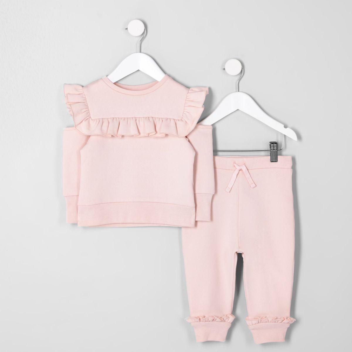 Mini girls pink frill sweatshirt outfit