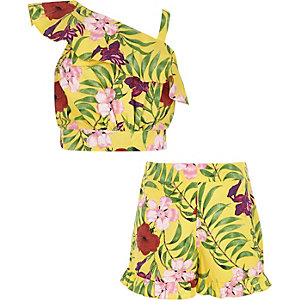Girls yellow one shoulder floral crop top out
