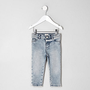 Mini kids acid wash mid rise jeans