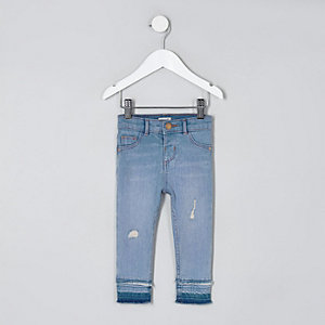 Mini girls blue Molly frayed hem jeggings