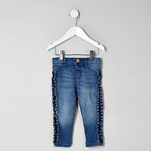 Mini girls blue Molly side frill jeggings