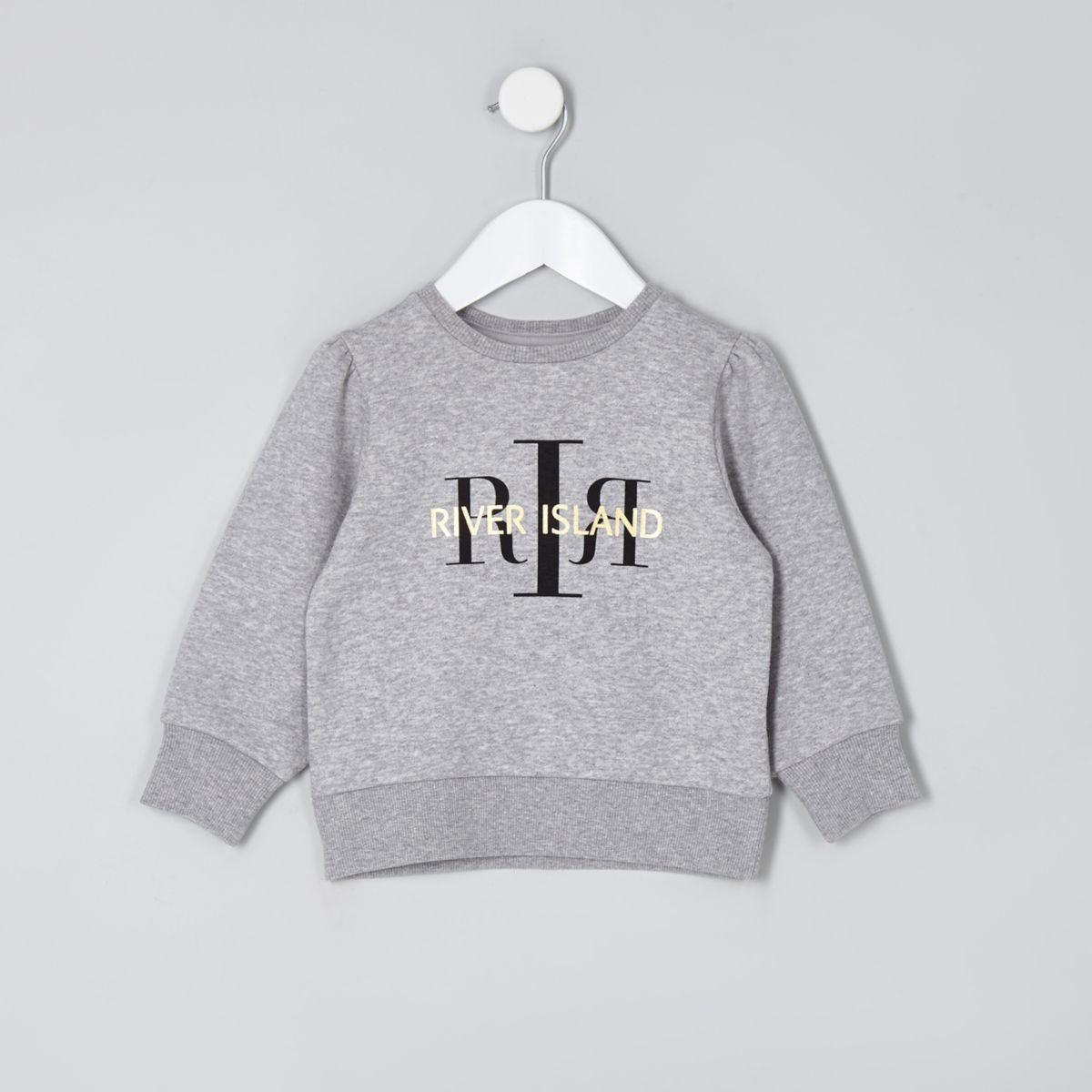 Mini girls grey RI branded sweatshirt