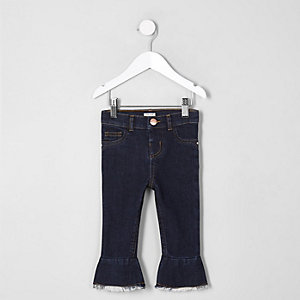 Mini girls dark blue mid rise flare jeans