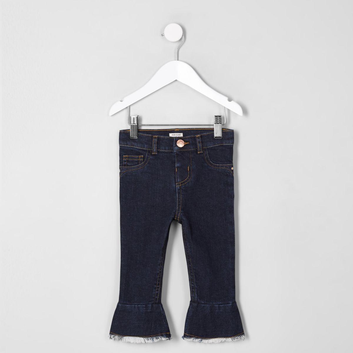 Mini girls dark blue mid rise flare jeans