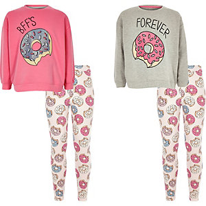 Girls grey donut pyjama set two pack