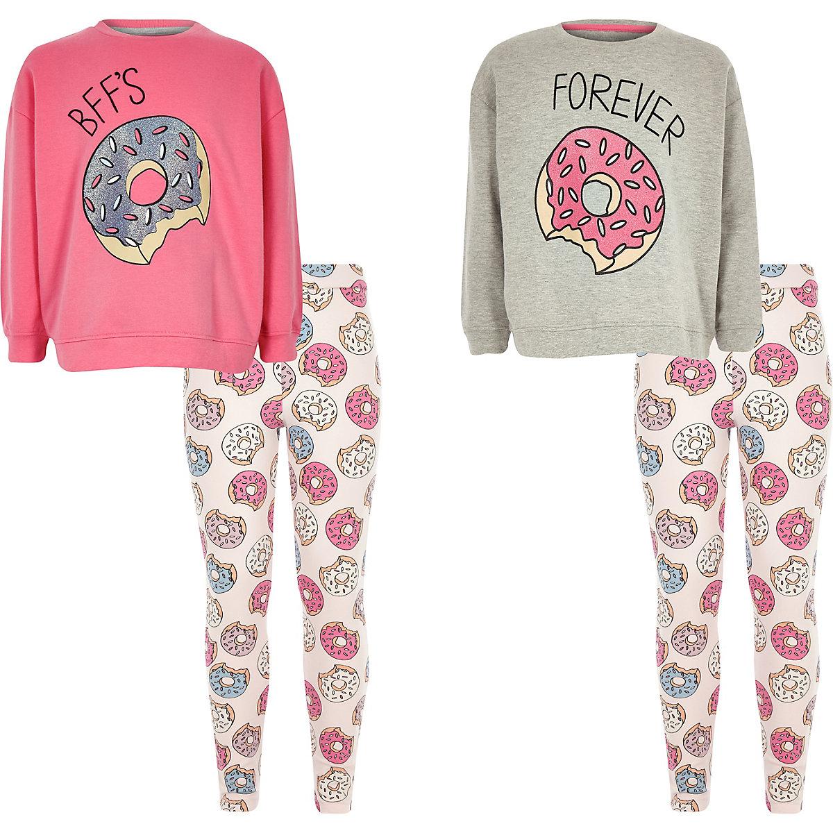 Girls grey BFF donut pajama set two pack