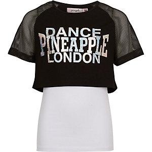 Zwart mesh gelaagd T-shirt met ananasprint voor meisjes