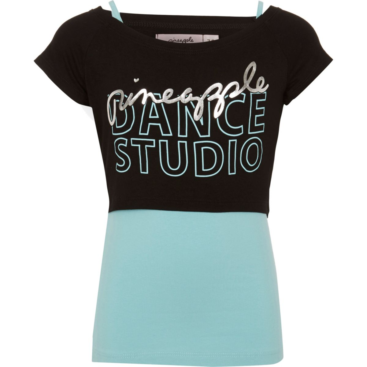 Girls blue Pineapple layered T-shirt