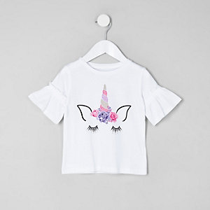 Mini girls white frill sleeve unicorn T-shirt