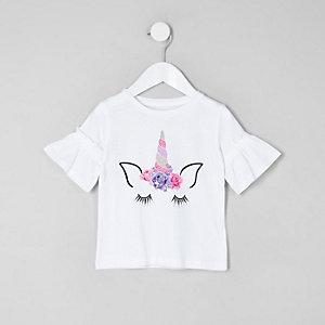 Mini - Wit T-shirt met ruches aan de mouwen en eenhoorn voor meisjes