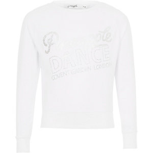 Girls white Pineapple sparkle print jumper