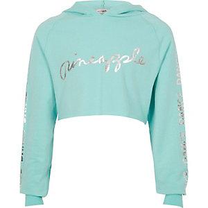 Blauwe korte hoodie met 'Dance'-print voor meisjes