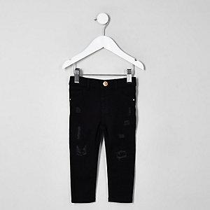 Mini - Molly - Zwarte ripped jegging met halfhoge taille voor meisjes