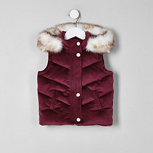 Mini purple velvet faux fur puffer gilet