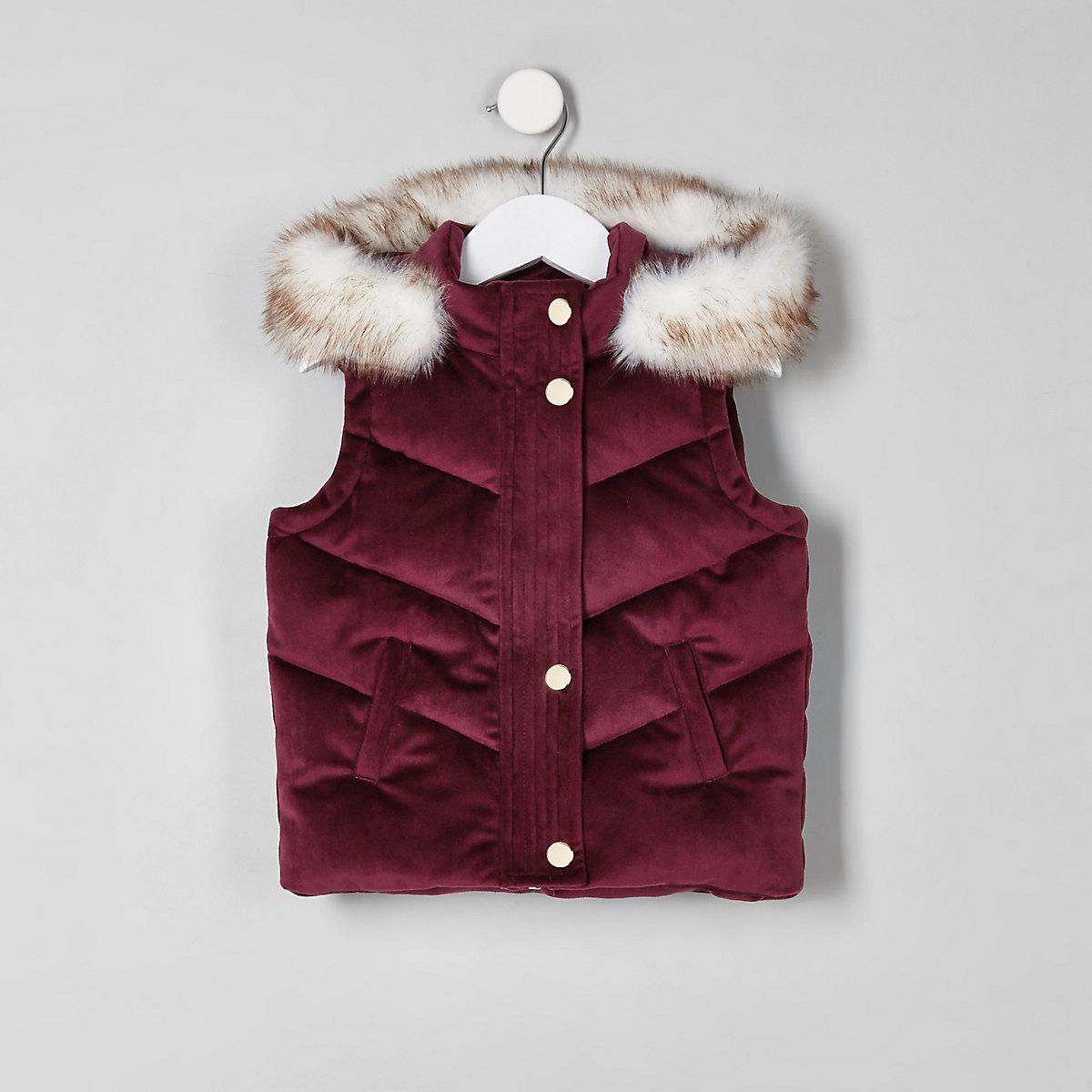 Mini purple velvet faux fur puffer vest