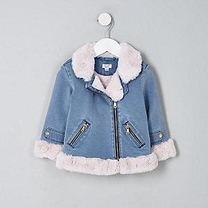 Mini girls denim faux fur aviator jacket
