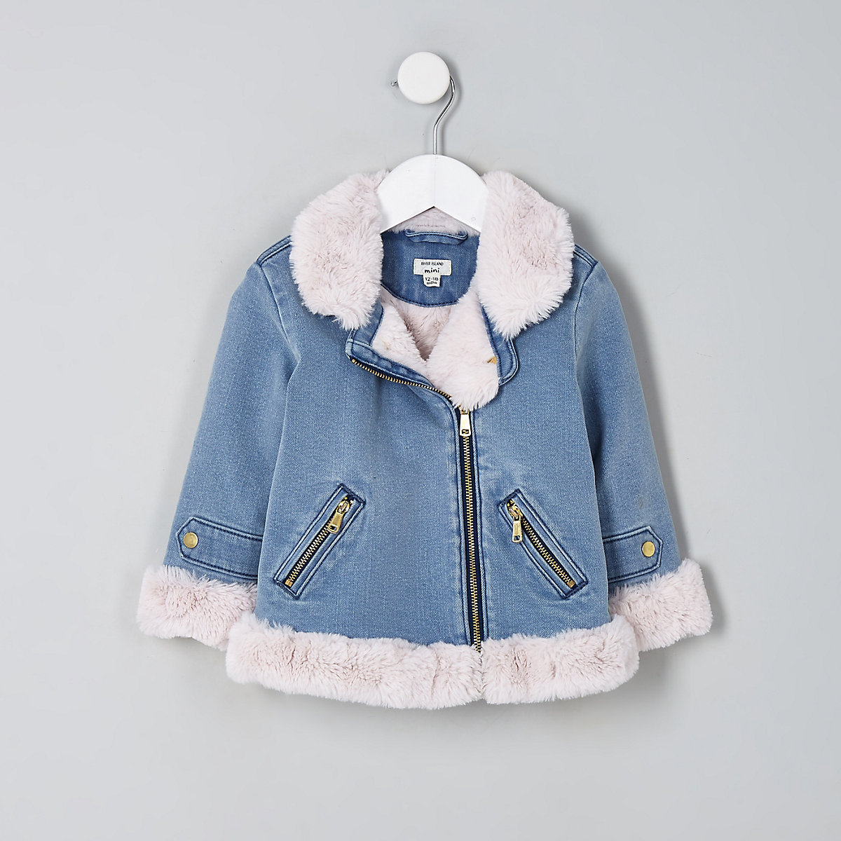 Mini girls denim faux fur aviator jacket