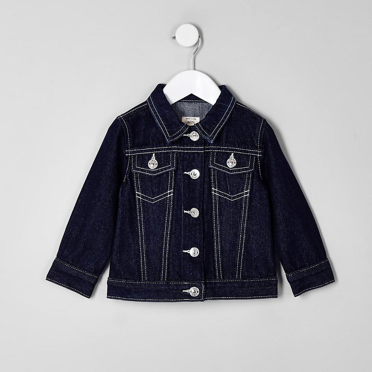 Mini girls blue raw denim jacket