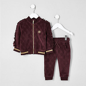 Mini girls burgundy frill velour tracksuit