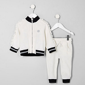 Mini girls cream frill velour tracksuit