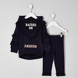 Mini - Outfit met marineblauwe hoodie met 'fashion'-print voor meisjes
