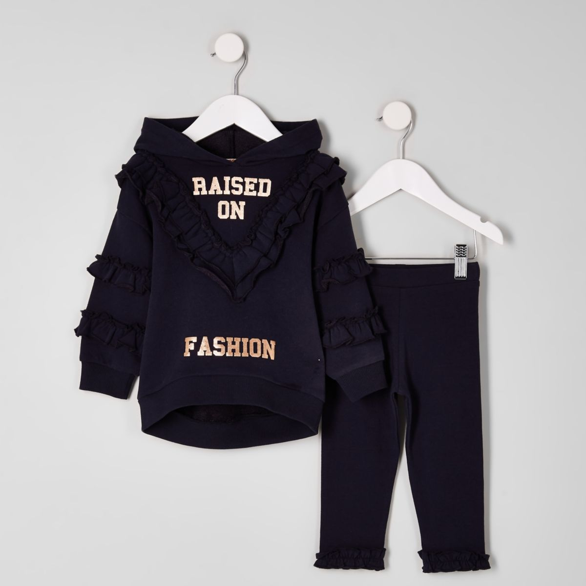 Mini girls navy 'fashion' hoodie outfit