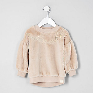 Mini girls cream faux fur sweater