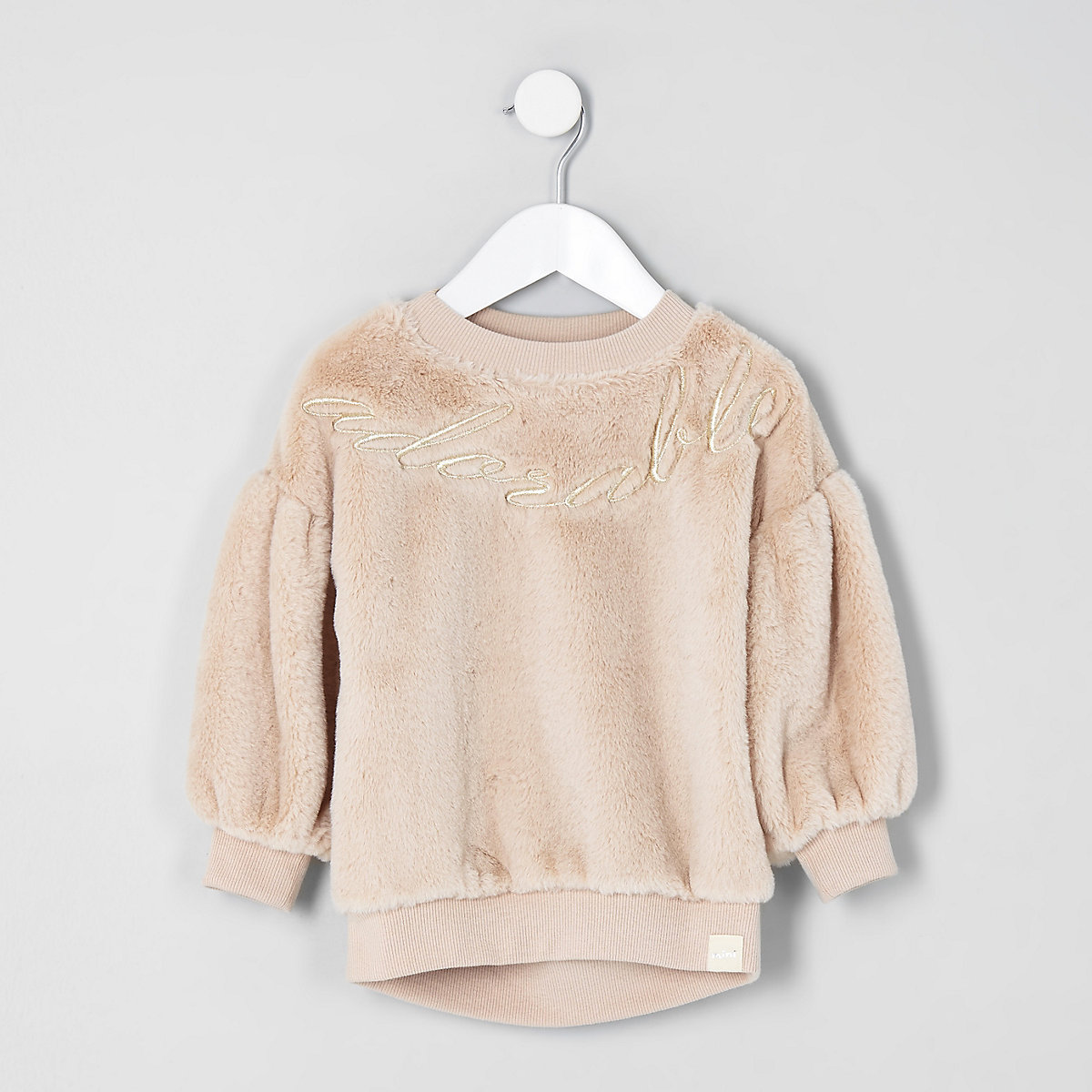 Mini girls cream faux fur sweater