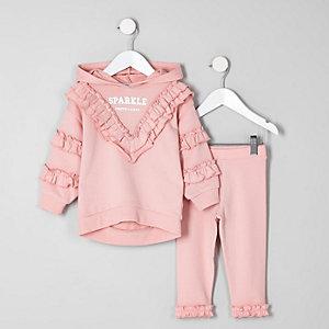 Mini - Outfit met roze sweatshirt met 'sparkle'-print