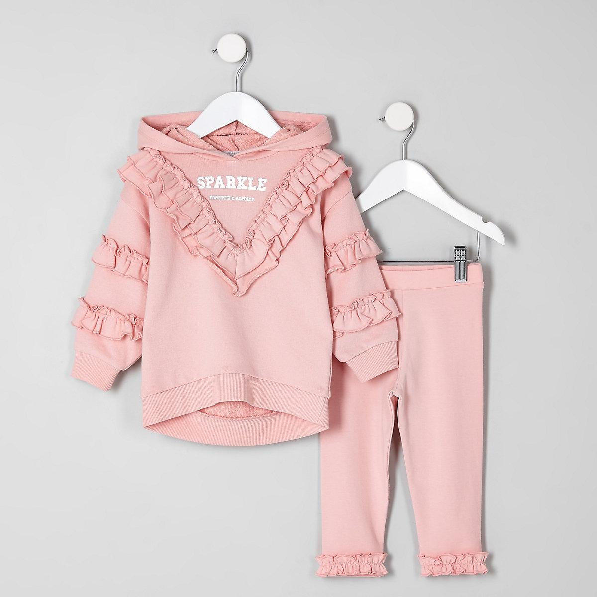 Mini girls pink 'sparkle' sweatshirt outfit