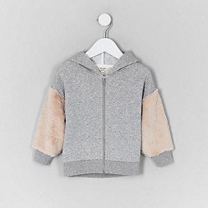 Mini kids faux fur sleeve hoodie