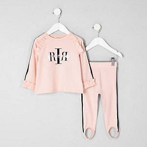 Mini girls pink RI frill top sports outfit