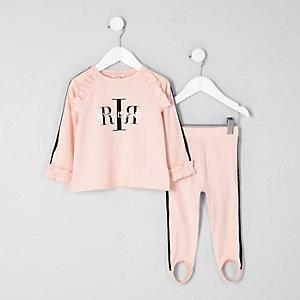 Mini - Roze sportoutfit met top met RI-logo en ruches voor meisjes
