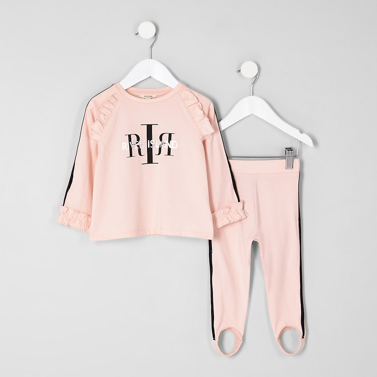 Mini girls pink RI frill top sports outfit