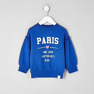 Mini - Blauw 'Paris' sweatshirt met ruches voor meisjes
