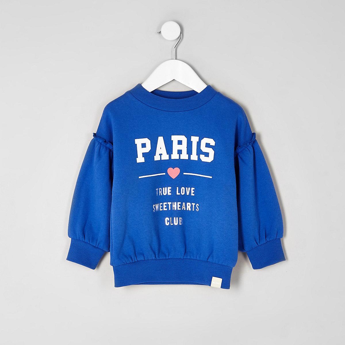 Mini girls blue 'Paris' frill sweatshirt