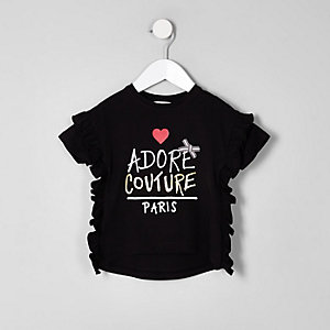 Mini girls black 'couture' frill T-shirt