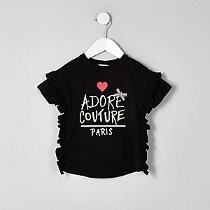 Mini - zwart T-shirt met 'couture'-print en ruches voor meisjes