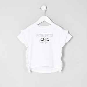Mini girls  'forever chic' frill side T-shirt