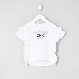 T-shirt « forever chic » avec volants sur le côté mini fille